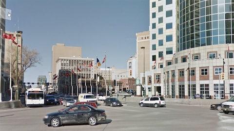 L'intersection de l'avenue Portage et de la rue Main à Winnipeg