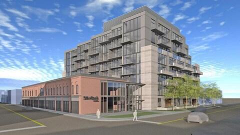 Le projet de Minto comporte un immeuble de 8 étages situé derrière la façade de l'édifice actuel.