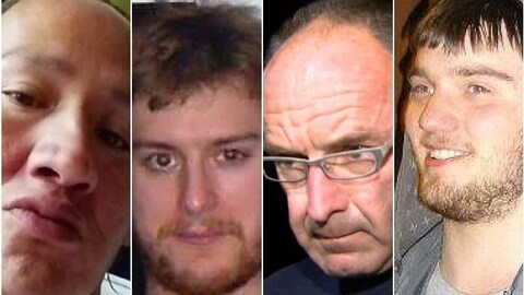 Les meurtriers John Paul Ostamas, Justin Bourque, Douglas Garland et Derek Saretzky (de gauche à droite).