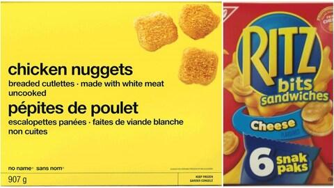 Une boîte de croquette de poulet Sans Nom et une boîte de craquelins « Mini Ritz ».