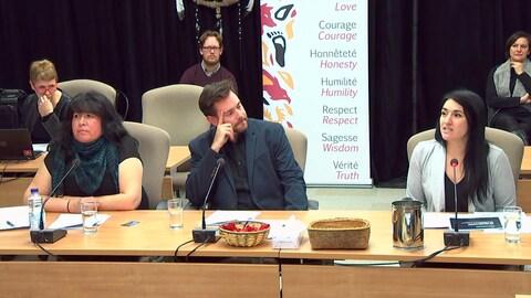 Deux femmes et un homme témoignent lors d'une commission d'enquête.