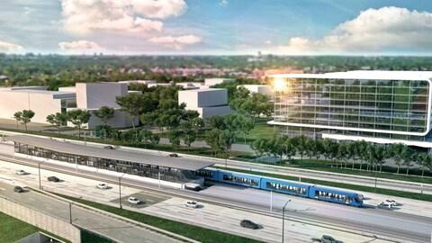 Maquette de la station Panama du Réseau électrique métropolitain