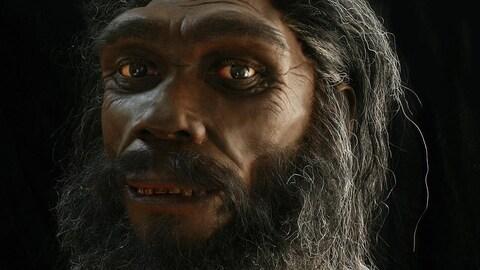 Illustration artistique d'un individu d'une espèce Homo éteinte rappelant l'homme de Denisova.