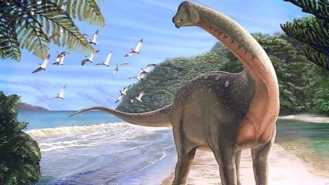 Représentation artistique d'un Mansourasaurus shahinae