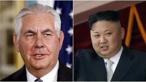 Rex Tillerson, secrétaire d'État américain, et Kim Jong-un, le dirigeant nord-coréen