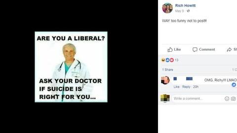 La publication montre l'image d'un médecin par-dessus laquelle est écrit en anglais: « Êtes-vous un libéral ? Demandez à votre docteur si le suicide vous convient… »