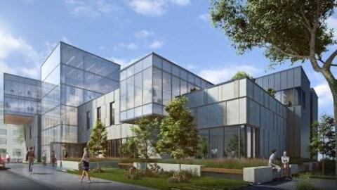 dessin architectural d'un bâtiment de plusieurs étages et de conception moderne.