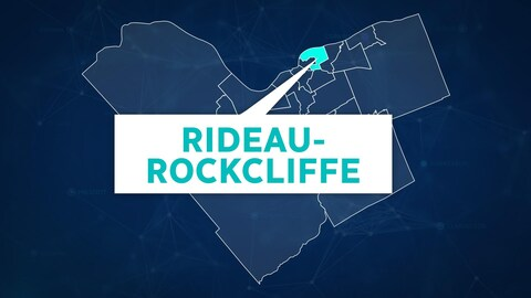 Une carte de la ville d'Ottawa montre l'emplacement du quartier Rideau-Rockcliffe.