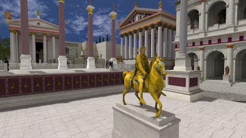 Le Forum de Rome dans l'environnement virtuel « Rome Reborn ».