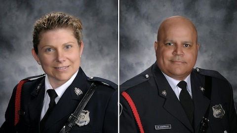 Les deux photos officielles des agents Sara Mae Helen Burns et Robert Costello, morts en service.