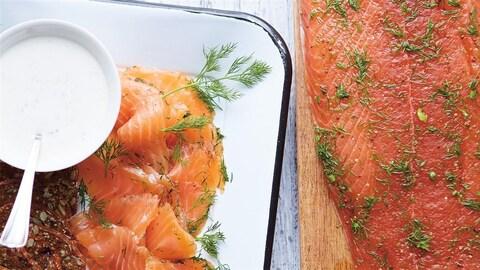 Une assiette de saumon fumé et gravlax