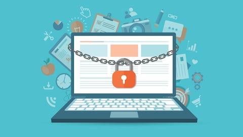 Un dessin montrant un ordinateur portable à l'écran duquel une chaîne et un cadenas sont suspendus. Derrière l'ordinateur, divers dessins représentant des objets de la vie courante sont superposés.