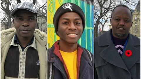 Collage avec trois portraits d'hommes noirs qui sourient, celui du milieu étant plus jeune que les deux autres.