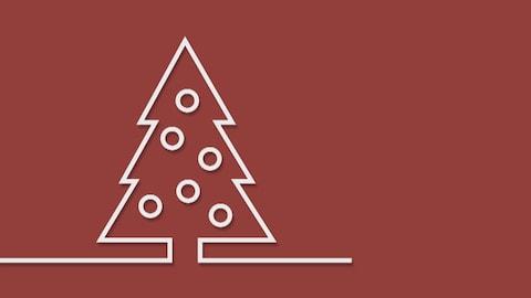 Image infographique d'une sapin de Noël rouge.