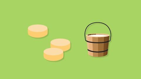 Image infographique de quelques meule de fromage avec un seau de lait.