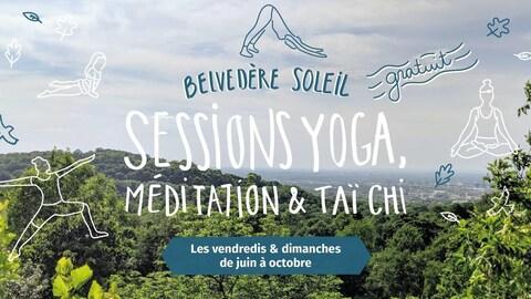 Affiche des Sessions yoga, méditation et tai-chi