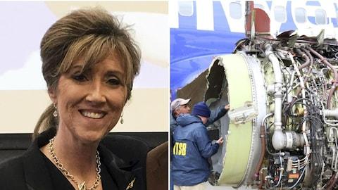 Tammie Jo Shults (à gauche) était aux commandes du Boeing 737 de la compagnie Southwest Airlines lorsqu'un moteur (à droite) a explosé en plein vol, le 17 avril 2018.
