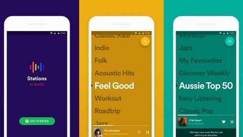 Trois captures d'écran de l'application Stations montrant l'écran d'accueil de l'application sur fond bleu marine et des titres de listes de lecture sur fond jaune moutarde et turquoise.