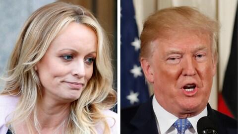 Stephanie Clifford (à gauche), aussi connue sous le nom de Stormy Daniels, et le président des États-Unis, Donald Trump (à droite)