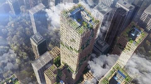 Une illustration montre les plans du gratte-ciel en bois de Sumitomo dans la ville de Tokyo.