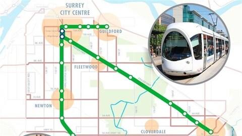 Carte du parcours du projet de train léger sur rail à Surrey (LTR).