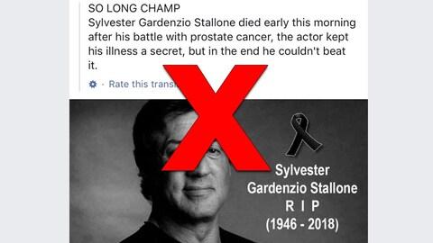 On voit une photo de Sylvester Stallone avec un texte expliquant qu'il est mort à la suite d'un cancer de la prostate.