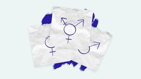 Sur trois feuilles de papiers, on voit un symbole transgenre qui cache les symboles masculin et féminin.