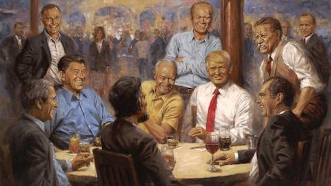 Le tableau «The Republican Club» où on voit, attablés, les présidents républicains Donald Trump, George W. Bush, Ronald Reagan, Richard Nixon, Abraham Lincoln; debout, on voit aussi Theodore Roosevelt, Gerald Ford et George Bush.