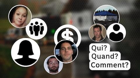 Tableau avec les visages d'Ophélie Martin-Cyr, René Kègle, Francis Martel et Steve Lamy