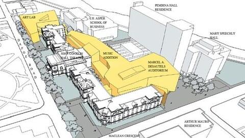 Ce dessin montre les nouveaux édifices, en jaune, qui feront désormais partie du Complexe des arts Taché.
