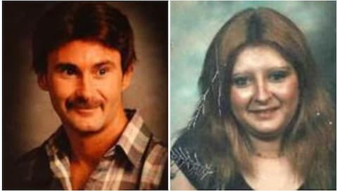 Vieux portraits défraichis des deux personnes disparues.