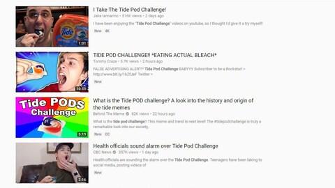 Quatre aperçus de vidéos YouTube sur le défi de la capsule Tide