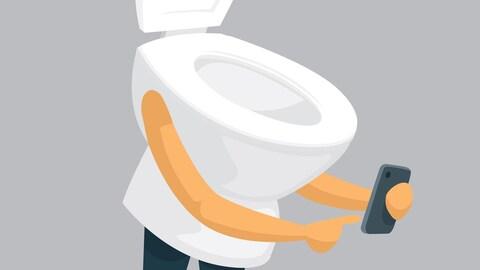 Une illustration d'une toilette avec des bras et des jambes utilisant un téléphone intelligent.