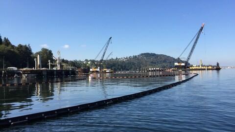 Une barrière flottante dans l'eau et des grues