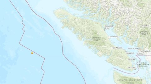 Une carte montre l'épicentre d'un tremblement de terre enregistré au large des côtes de la Colombie-Britannique.