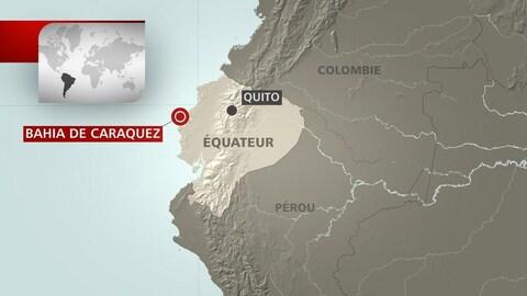 Une carte montrant l'endroit où a retenti le séisme.