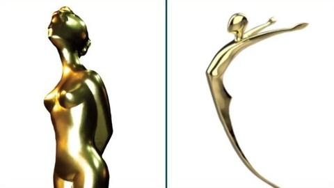Un trophée d'une femme nue et un trophée non genré.