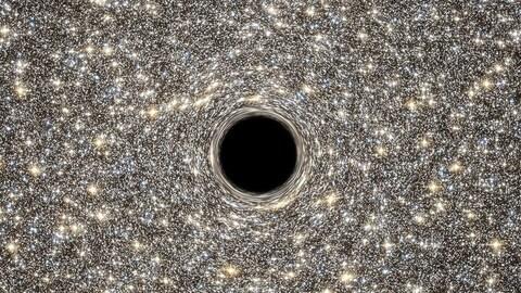 Représentation du trou noir au coeur de la galaxie M60-UCD1