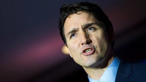 Le premier ministre canadien Justin Trudeau lors d'une conférence de presse à Guangzhou, en Chine, le 7 décembre 2017