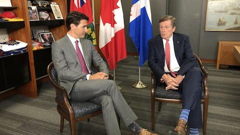 Justin Trudeau et John Tory se rencontrés vendredi matin.