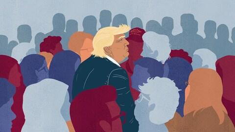 Illustration du président américain, parmi une foule