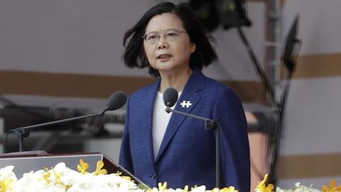 """中华民国国庆日""""双十节,总统蔡英文于台北发表讲话。"""