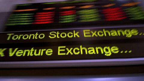 La bande défilante de la Bourse de Toronto