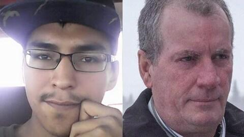 Colten Boushie (gauche) a été tué d'une balle à la tête en août 2016. Gerald Stanley (droite) a été acquitté de meurtre au second degré.