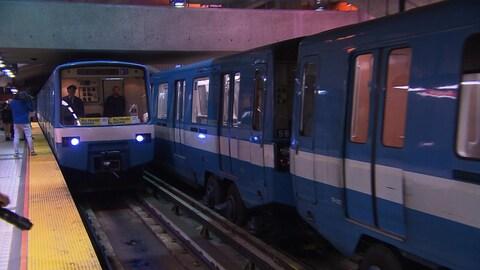 Le dernier wagon d'origine du métro de la Société de transport de Montréal (STM) le MR-63