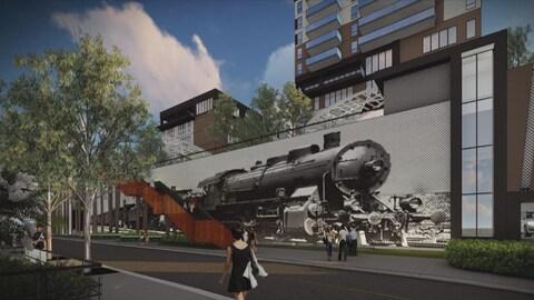Une esquisse du projet Well inc. vue de la rue du Dépôt, à Sherbrooke.