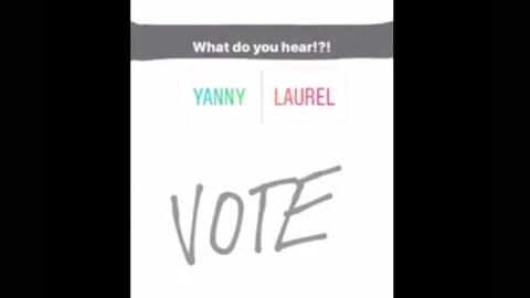 Il s'agit d'une vidéo publiée sur Twitter. Le texte en anglais invite l'auditeur à voter. « Entendez vous Yanny ou Laurel? » peut-on lire.