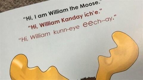"""Une page du livre  intitulé """"Hide and Seek"""" avec le dessin d'un orignal."""