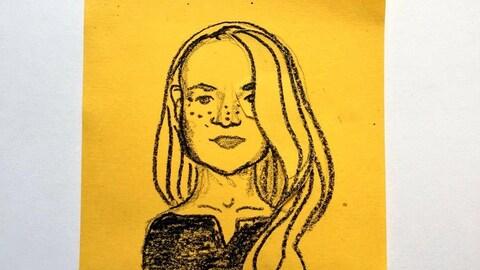 Une caricature d'une femme dessinée sur un Post-It.