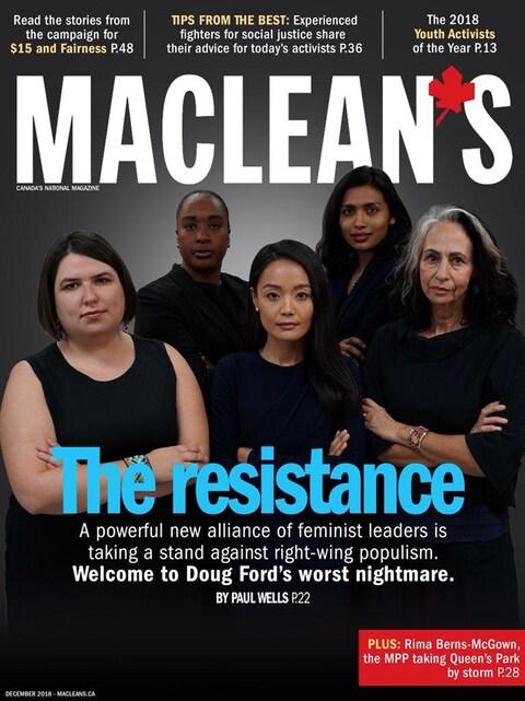 Cinq femmes de diverses origines culturelles sur la une d'un magazine.